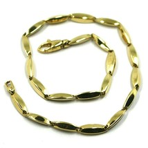 18K YELLOW GOLD BRACELET ALTERNATE OVAL RICE TUBE LINKS, length 21.5 cm ... - $460.00