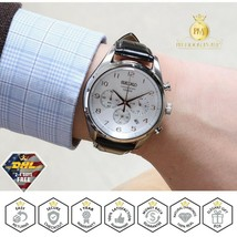 SEIKO Men's Watch Chronograph Black Leather Strap Silver Dial Steel Case SSB227 - $208.55