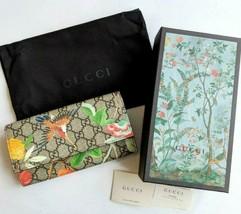 f4bdd166210b GUCCI Long Wallet Purse Tian GG Supreme Continental Floral Bird Beige Au...  -