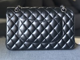 SALE* AUTHENTIC Chanel Quilted Lambskin Classic Medium Black Double Flap Bag SHW image 2