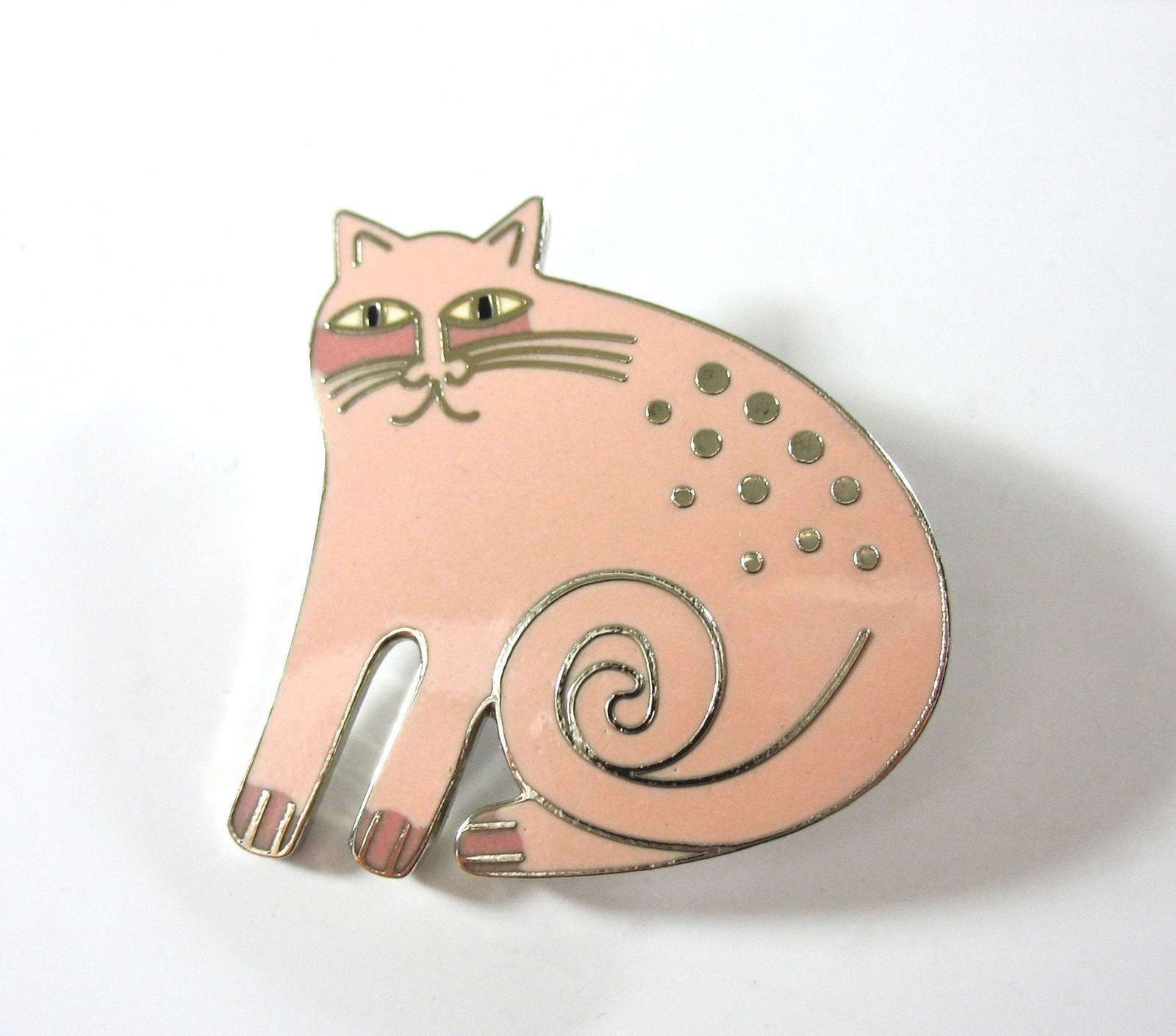 LAUREL BURCH Cat Pin, Cat Earrings, Set, Keshire Cat, Pink Kitty, Silver, Collec