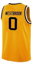 Russell Westbrook #0 College Basketball Custom Jersey Sewn Gold Any Size image 2