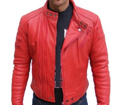 Mens Red Color Qulted Fashion Leather Jacket Real Cowhide Men Leather Jacket - $118.60+