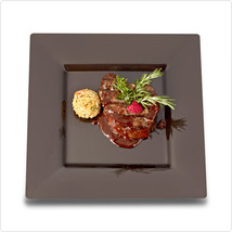 Black 10 3/4 Inch Plastic Square Dinner Plates/Set of 120 - £162.23 GBP