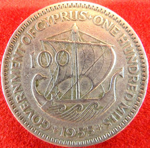 CYPRUS 100 MILS COIN 1955 VF+,ANCIENT SHIP,Greece Zypern Chypre Chypro C... - $14.00