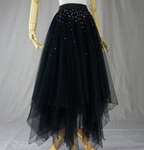 Black Tulle Layered Skirt High Low Tiered Tulle Skirt for Adults Layered Tutu  image 4