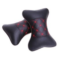 PANDA SUPERSTORE Set of 2 Automotive Trim Dog Bone Neck Pillow,Black & Red