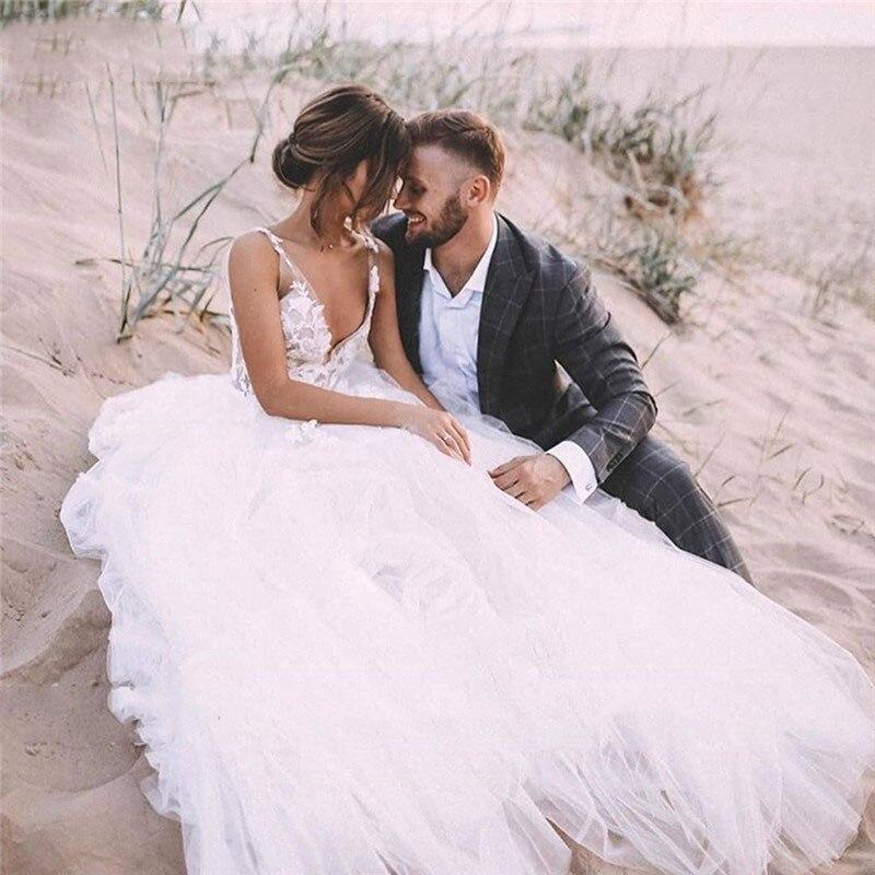 V neck lace sheer a line wedding dresses 2020 sexy backless tulle bridal gowns sleeveless formal
