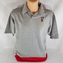 New Walt Disney World WDW L Mickey Mouse Embroidered Polo Rugby Shirt Gray Red - $15.56