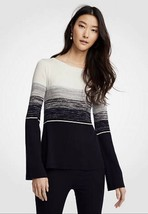 NWT Womens Ann Taylor L/S Navy/Winter White Striped Boatneck Sweater Sz ... - $28.70