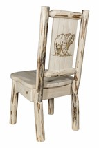 Amish Log Dining Room Chairs with Laser Engraved Design Rustic Lodge Cab... - $297.00