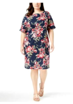 Karen Scott $55 NWT  Dress Blue Short Sleeve Floral Print Size 0X Plus L... - $29.69
