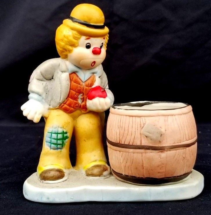 Primary image for Fun Hobo Luvkins porcelain Cute Clown and candle holder Jasco