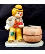 Fun Hobo Luvkins porcelain Cute Clown and candle holder Jasco - $6.33