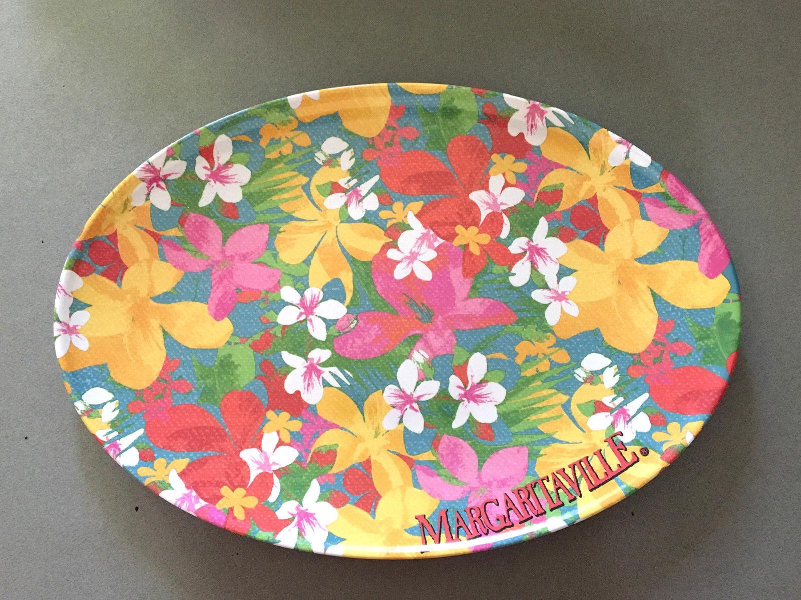 """Margaritaville Melamine Floral Hibiscus 16x11"""" Plate Platter Jimmy Buffett NEW"""
