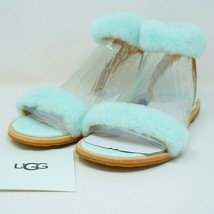 UGG Fluff Springs Sandal Patent Leather Sheepskin Agave Glow Color Size ... - $79.43