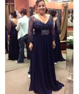 V Neck Navy Blue Long Sleeves Long Mother of the Bride Dresses with Beaded - £139.30 GBP