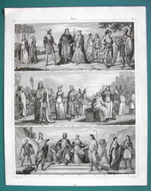FRANKISH TRIBES Normans Queens Kings Costume - 1844 Antique Print Engraving - $12.96