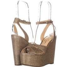 Jessica Simpson Prena Wedge Sandals 251, Gold, 9.5 US - $28.79