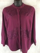 a.n.a. A New Approach Grape Long Sleeve Button Shirt Lace Inserts SZ 1X - $15.79