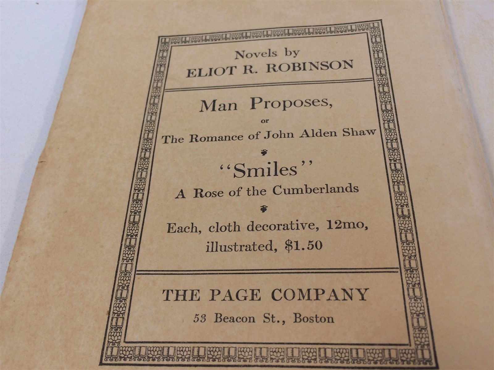 Smiles: A Rose of The Cumberlands by Eliot Robinson HC 1919