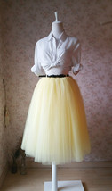 YELLOW Tulle Midi Skirt Outfit High Waisted 4-Layered Midi Tutu Puffy Skirt image 5