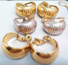 Vintage Monet Gold Toned Plated Clip On Earrings Wedding Band Metal Hoop... - $17.99