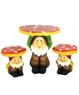 Four Seasons Home 3-Piece Jolly Gnome Table Chair Novelty Garden Furnitu... - $379.90