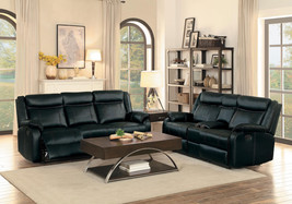 Modern Living Room Couch Set - Black Faux Leather Reclining Sofa & Loves... - $30.455,15 MXN