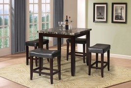 Counter Height Set, Black Faux Marble & Espresso, 5 Piece Pack - $762.24