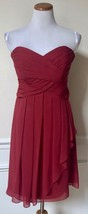 David's Bridal Red Bridesmaid Dress Prom Formal Cocktail Strapless F1484... - $16.82