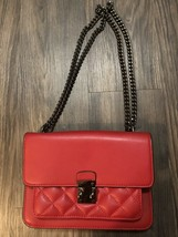 Net A Porter Red Leather Quilted Bag Black Chain - $80.53 CAD