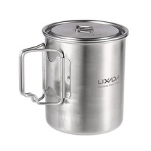 Lixada Camping Cup Pot with Foldable Handles and (750ML Stainless Steel ... - £20.09 GBP