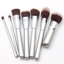 Makeup Brush Set  Silver Wood Handle Ultra Soft Synthetic Hair 7pcs Basi... - $12.46+