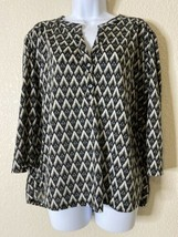 H&M Womens Size L Geometric Diamond Pattern Button Neck Blouse 3/4 Sleeve  - $11.60