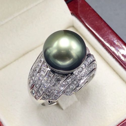 Primary image for GREEN PEACOCK South Sea Pearl Diamond 18K Solid White Gold Ring Natural TAHITI