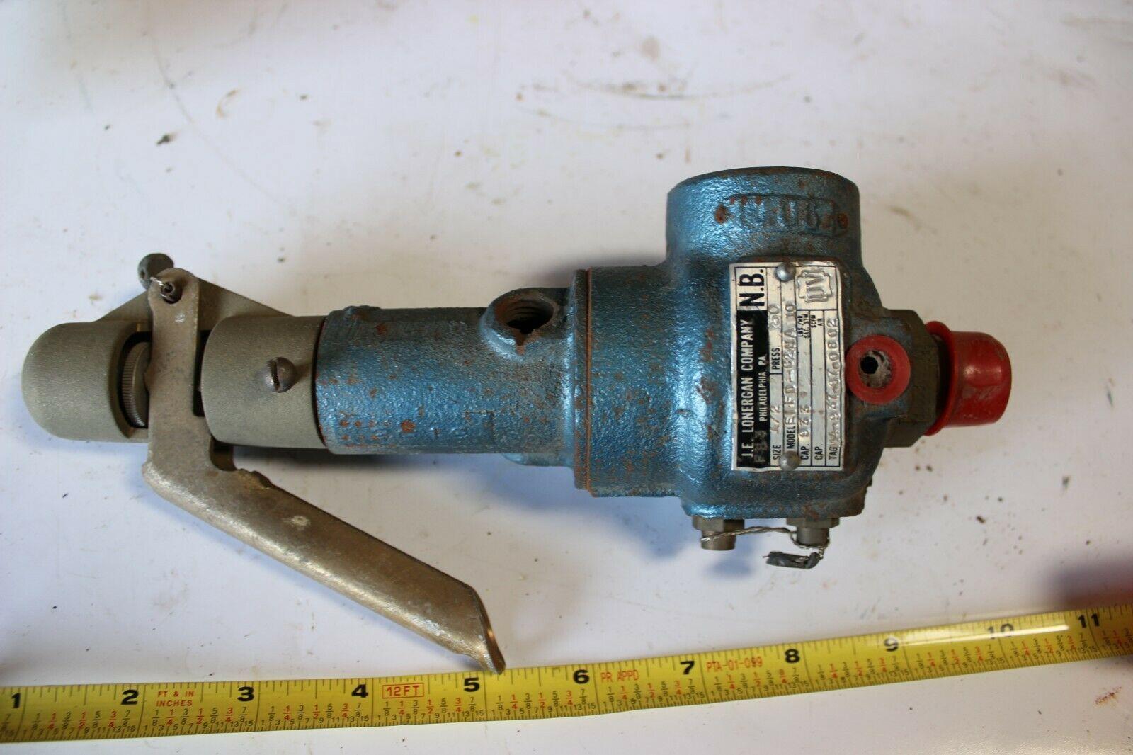 """J.E.LONERGAN E1FD-02HA 10  Safety Relief Valve 1/2"""" 150 psi New"""