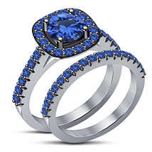 Blue Sapphire Womens Halo Bridal Ring Set 14k White Finish 925 Sterling ... - $91.99