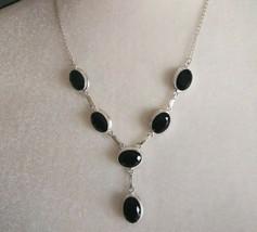 Natural Gemstone  Black Onyx Necklace Marked 925 sliver Boho Reiki Healing - $26.24