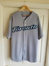 Toronto Blue Jays Away Gray Jersey Majestic Mens 2XL Xxl Stiched/embroidered - $39.59