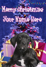 Great Dane Puppy Dog Merry Christmas Personalised Greeting Card codeXM154 - $4.42