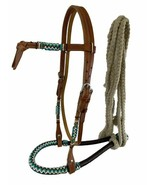 Western Horse Bosal Hackamore Leather + Rawhide Bridle Headstall w/Cotto... - $68.11