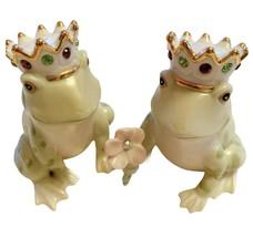 Lenox Jeweled Frog Royal Prince Salt & Pepper Shaker Set Green Gold Crowns - $51.39