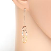 Designer Silver, Rose, Gold Tri Color Tone Earrings & Swarovski Style Crystals  - $17.99