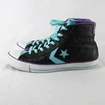 Converse All Star Leather High Top Shoes Mens 9 Womens 11 Black Blue Purple image 2
