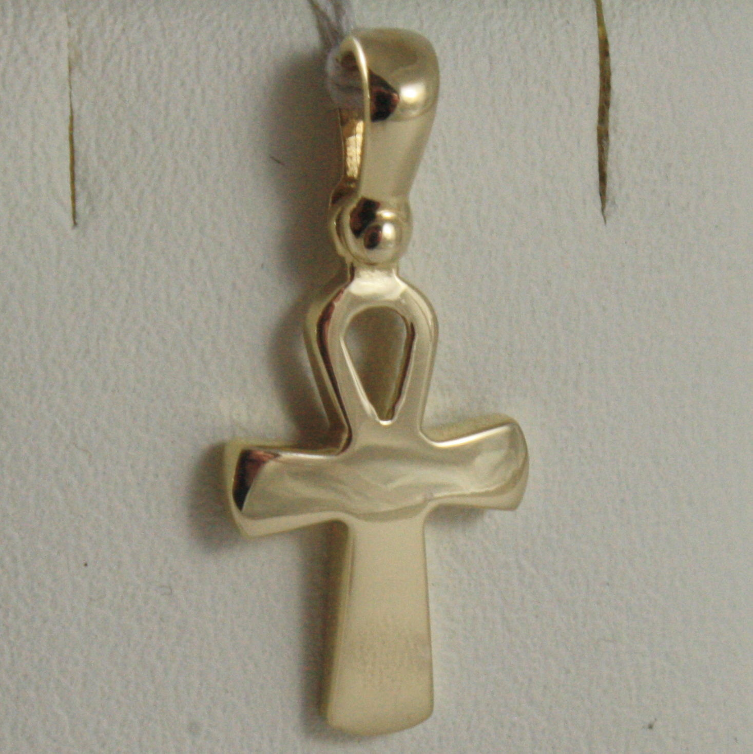SOLID 18K YELLOW GOLD CROSS, CROSS OF LIFE, ANKH, SHINY, 0.87 INCH MADE IN ITALY