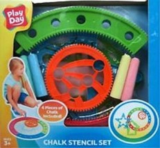 Play Day Chalk Drawing Stencil Set Sidewalk Fun 4 Pc Color Chalk Include... - $25.99