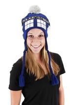 Doctor Who Tardis Image Knitted Laplander Beanie Hat LICENSED NEW UNWORN - $16.44