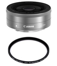 CANON EF-M 22mm F2 STM Silver (White Box) + HOYA 43mm PRO 1D Protector - $252.46