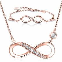 Billie Bijoux 925 Sterling Silver Necklace Bracelet One Sets (B-rose gold) - $62.16